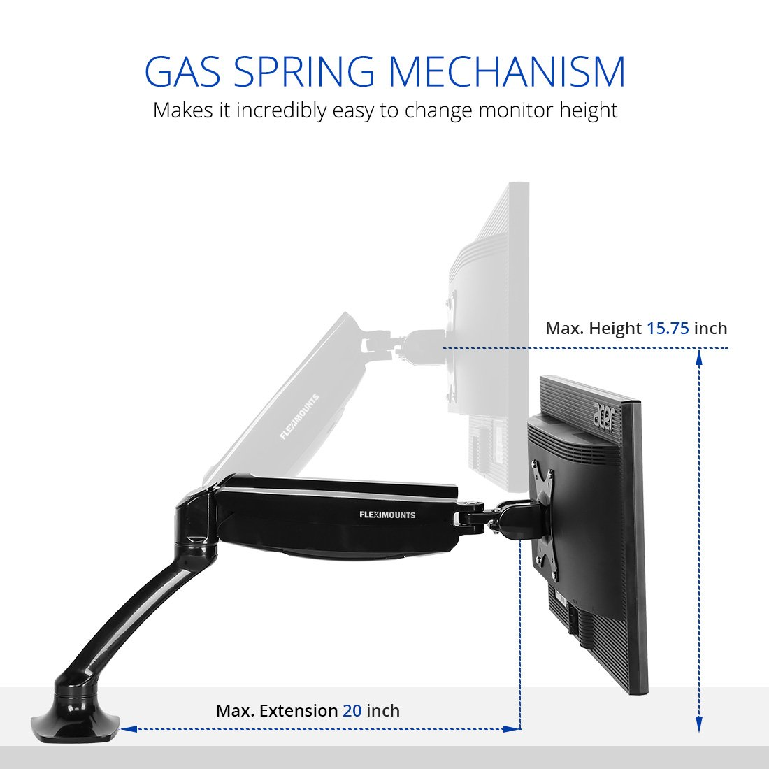 FLEXIMOUNTS M01 LCD arm Desk Monitor Mount for 10-27 inches Computer Monitor Deluxe w/Gas Spring arm,with Clamp or Grommet Desktop Support by FLEXIMOUNTS (Image #2)