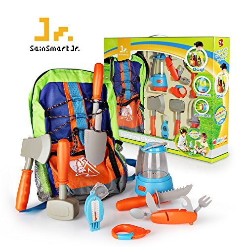 SainSmart Jr. Pretend Camping Toys Survival Kit with Large Bag, Outdoor Cookware Hiking Gear Play Set for Ages 3 and up