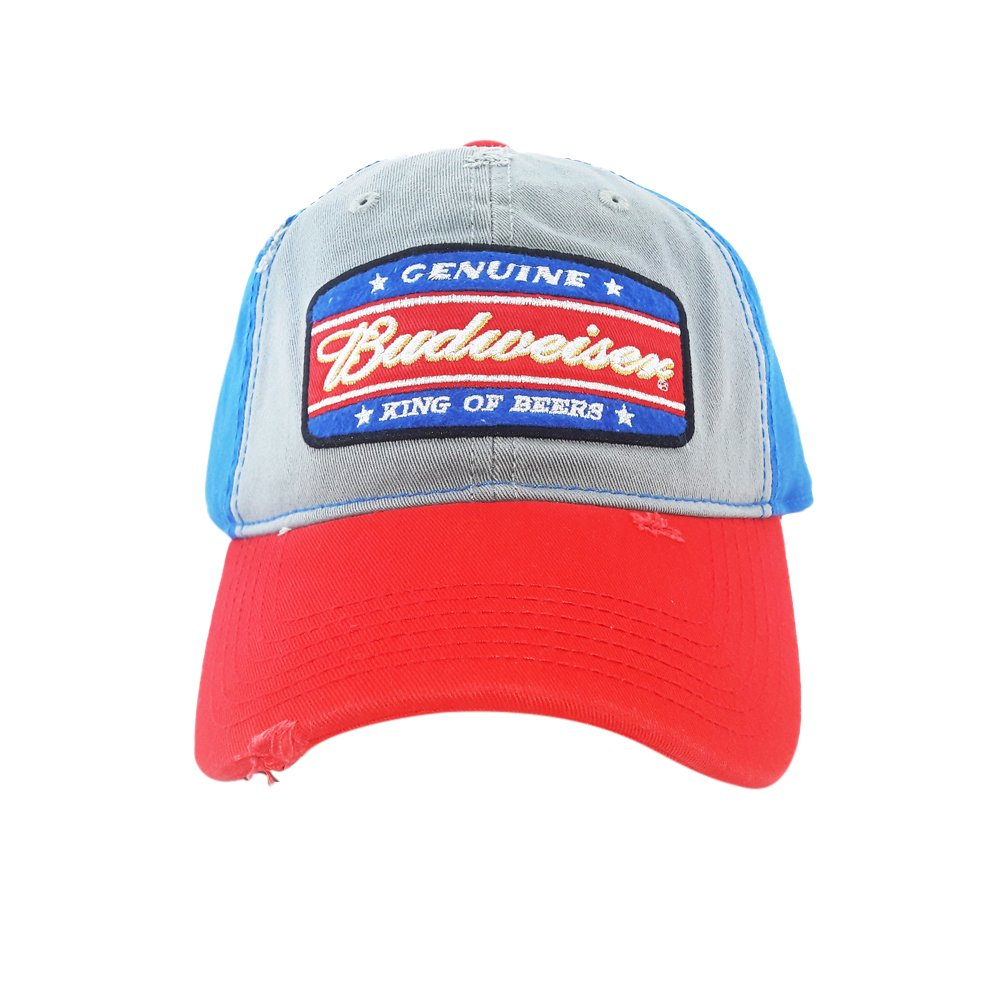 6eeb1364245 Genuine Budweiser King of Beers Snapback Hat Cap Alcohol Lager Distressed  Blue at Amazon Men s Clothing store