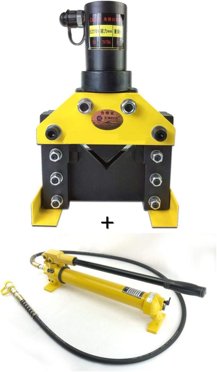 cgoldenwall cac-75Dividir hidráulico ángulo acero cortador herramienta de corte hidráulico ángulo de hierro acero 20T con cp-700hidráulico bomba Manual 900cc