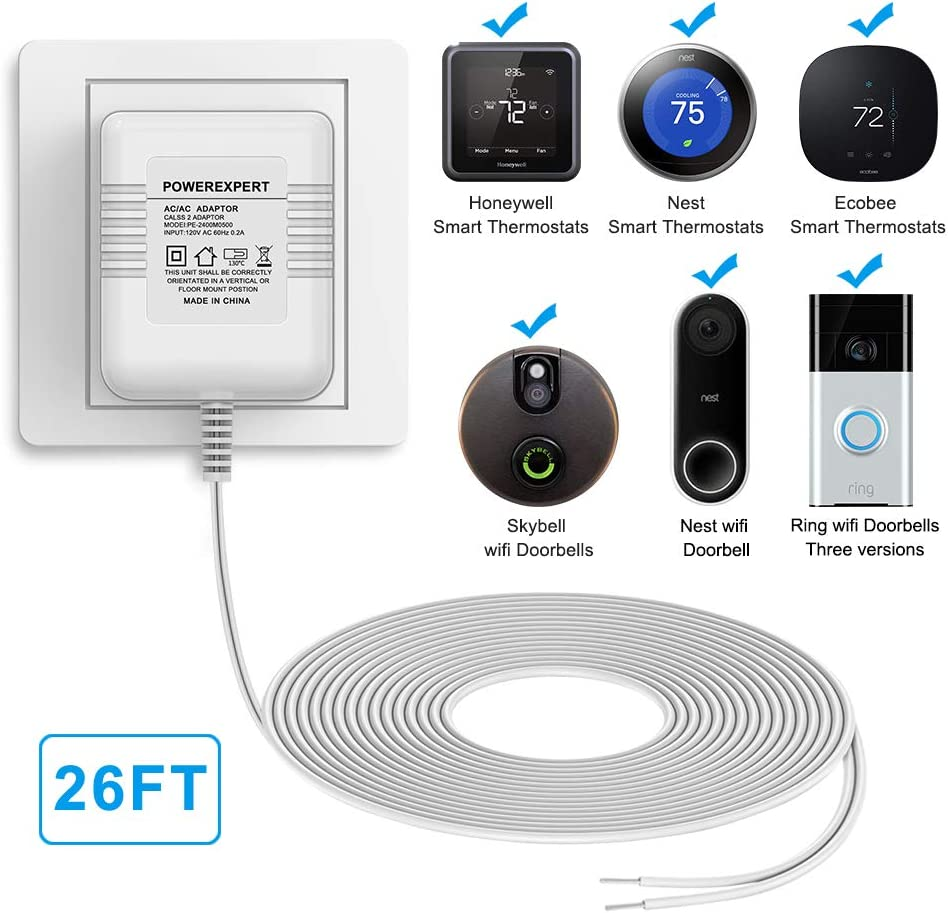 Newding 24V 500mA C Wire Adapter for Thermostat and Doorbell Transformer Compatible with Nest//Ecobee//Sensi//Honeywell Thermostat Nest Hello Doorbell//Ring Doorbell Power Supply