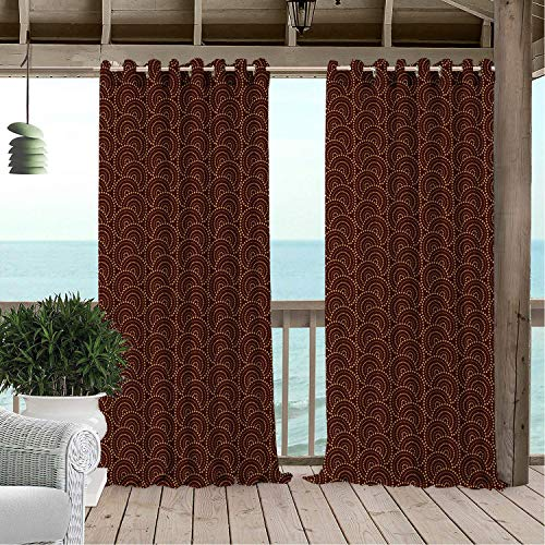 Linhomedecor Outdoor Waterproof Curtain Circle Simplistic Dots Arrangement in Circular Motifs Warm Tones Print Chestnut Brown and Dark Mustard doorways Grommets Cabana Curtain 120 by 108 inch