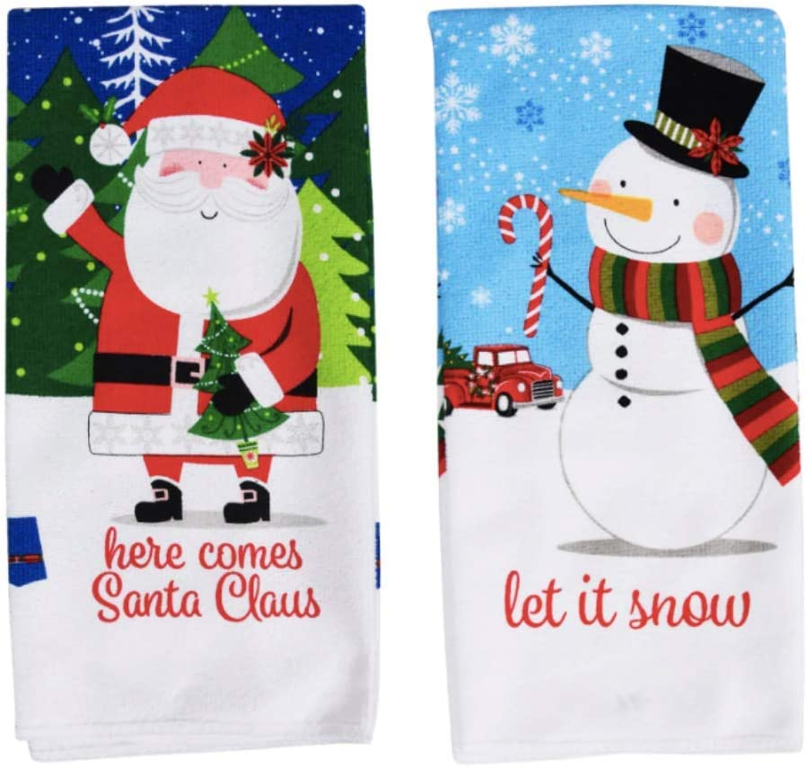 Christmas Towels Set of 2   Christmas Dish Towels   Christmas Kitchen Towels   Christmas Hand Towels for Bathroom   Holiday Decorations Kitchen Dish Towels Decorative Towels Kitchen Santa Snowman