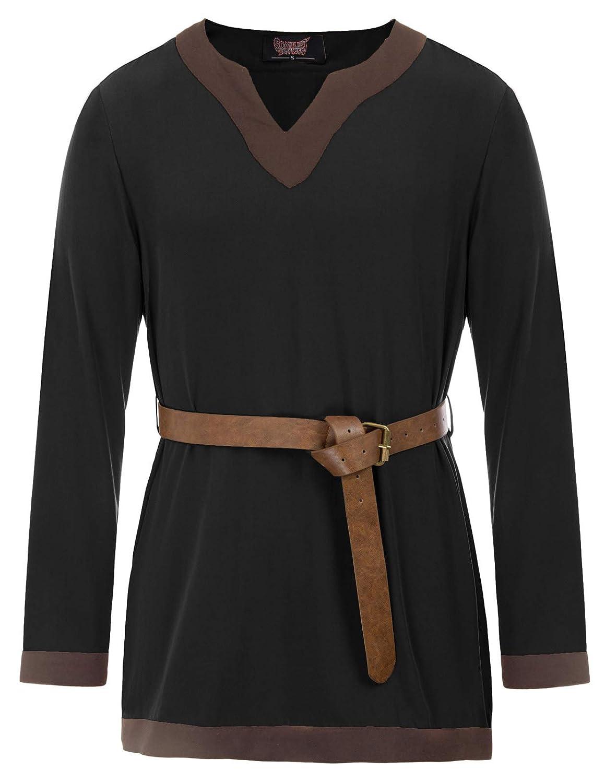 Men's Steampunk Clothing, Costumes, Fashion Men Medieval Tunic LARP Viking Pirate Shirt Renaissance Cosplay Costume Shirt $22.99 AT vintagedancer.com