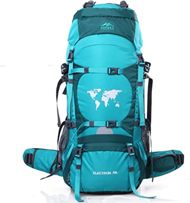 TOPSKY Sports Waterproof Internal Frame Backpack 70L Unisex Large Travel Daypacks with Rain Cover Extension to 80L