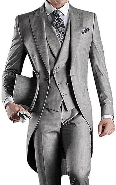 Mens 3 Pieces Suits Slim Fit Tailcoat Jacket Tuxdeo Blazer Vest Flat Front Pants