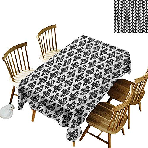 kangkaishi Oil-Resistant and Durable Long Tablecloth Kitchen Available Monochrome Royal Lily Pattern Victorian Inspiration Ornamental Vintage Design W60 x L84 Inch Black White