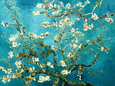 Wieco Art - Canvas Prints Giclee Artwork for Wall Decor, Stretched and Framed Art work, Classic Van Gogh Reproductions Almond Blossom Modern paintings Canvas Wall Art for Home Decoration and office Decoration Floral Picture Print on Canvas Art