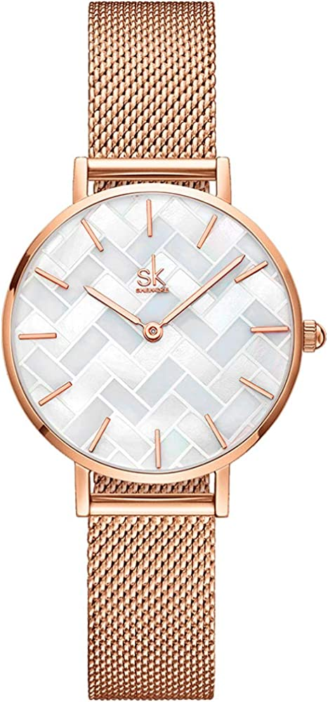 SHENGKE Estrella Relojes para Mujer Reloj Damas de Malla Impermeable Elegante Banda de Acero Inoxidable Relojes de Pulsera Moda Vestir Negocio Casual Reloj de Cuarzo
