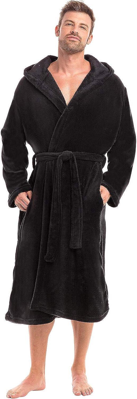 Alexander Del Rossa Men's Lightweight Fleece Robe with Hood, Soft Bathrobe