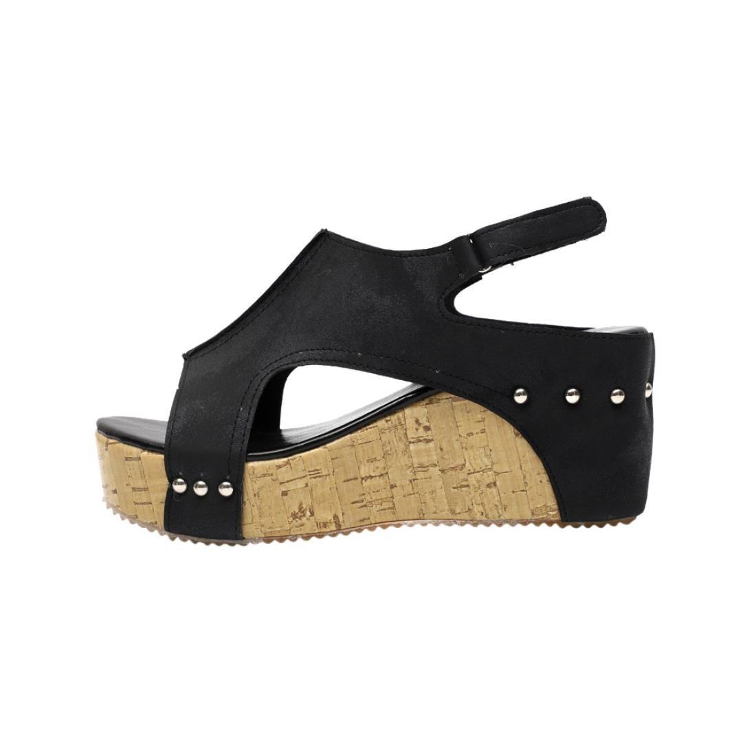 Women High Heel Leather Rivet Roman Platforms Wedges Shoes Sandals (6.5, Black)