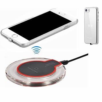 hanende Kit de Cargador Inalámbrico para iPhone 7, Qi Carga inalámbrica Pad y Receptor inalámbrico para iPhone 7 (Plata)