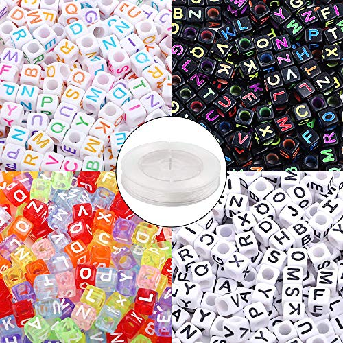 Quefe 1000pcs 4 Color Acrylic Alphabet Letter Beads with 50 Meters Elastic Crystal String Cord for Jewelry Making DIY Necklace Bracelet(6mm)