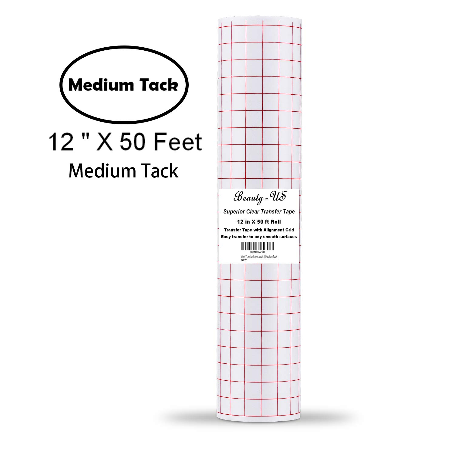 Vinyl Transfer Paper Tape Roll 12 x 50 FT Clear w/Red Alignment Grid | Application Tape Perfect for Cricut Cameo Silhouette Self Adhesive Oracal for Signs Crafts Stickers Decals | Medium Tack JANDJPACKAGING Transfer Tape - 004