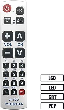 Luckystar Big botón Mando a Distancia Universal a-tv2, Ajuste Inicial para LG, Vizio, Sharp, Zenith, Panasonic, Philips, RCA – Put Recargable para Trabajo, sin Necesidad de Programa: Amazon.es: Electrónica