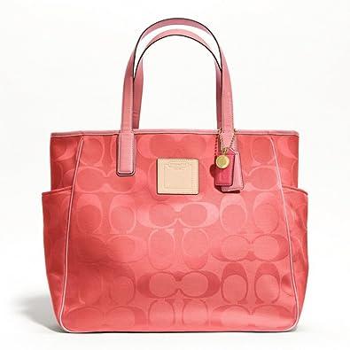 8327a24914d9 Image Unavailable. Image not available for. Color  Coach Resort Signature   quot C quot  Coral Pink Canvas Shoulder Bag ...