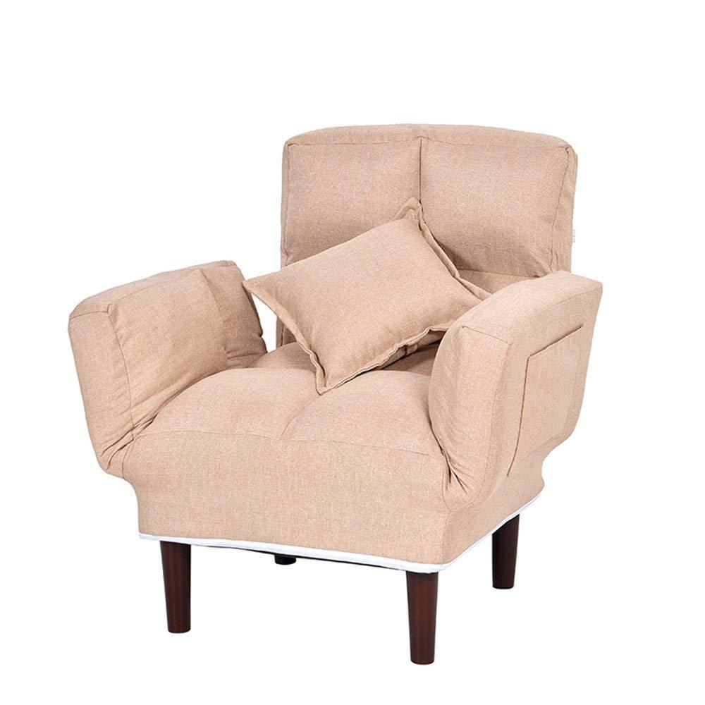 サンラウンジャー調節可能な快適なフロアチェア布アート折りたたみチェアバルコニーリビングルームカジュアル怠惰な椅子リクライニングチェア授乳チェア (Color : Beige) B07TH2FF7P Beige