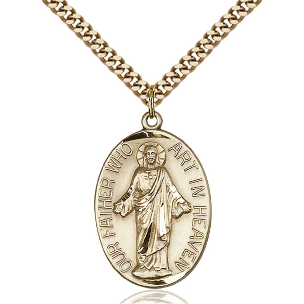 Gold Filled Our Father Pendant 1 1/8 x 3/4 inches with Heavy Curb Chain by Bonyak Jewelry Saint Medal Collection