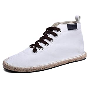 Striped high-heeled shoes Men's and women's canvas shoes 45/14 B(M) US Women / 10.5 D(M) US Men White