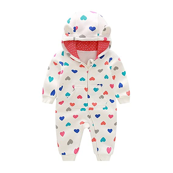 Ding-dong Baby Girl Cotton Long Sleeve Heart Hooded Romper
