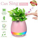 ascension Plastic Music Flowerpot/Touch Plant Lamp with Rechargeable Wireless Bluetooth Speaker and LED Night Light (Pink)