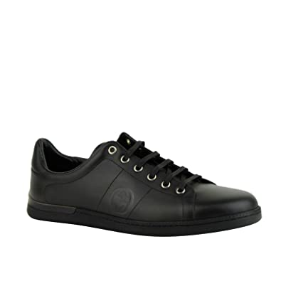 a795458bc749 Gucci Men s Black Leather Sneaker with Interlocking G Emblem 329841 1000  (39 G US