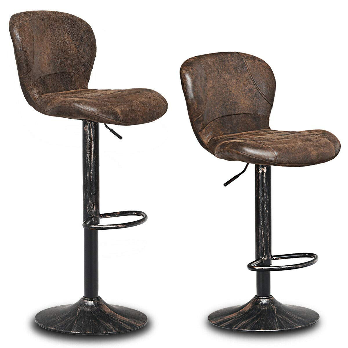 COSTWAY Vintage Bar Stool, Set of 2 Armless Hydraulic Lift Adjustable Seat Height with Footrest, PU Leather Cushion and Backrest for Kitchen Dining Living Bistro Pub Counter Back Barstool, Brown by COSTWAY