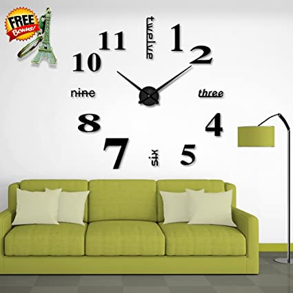 Amazon.com: DIY Wall Clock | Modern Mute 3D Frameless Large Wall ...