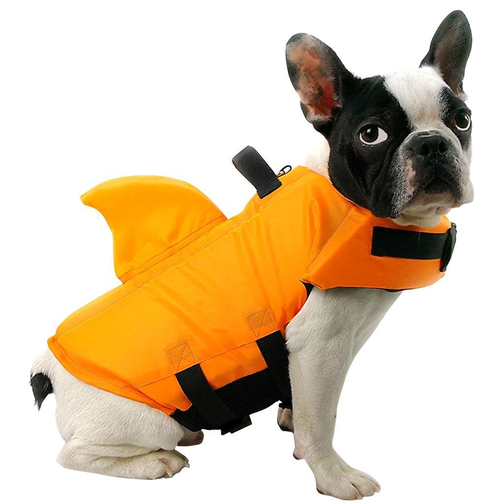 Cane Cappotto Galleggiante Cucciolo Giubbotto di Galleggiamento Salvavita Sicurezza Life Preserver per Nuoto con Fibbia Regolabile Multi-Size Arancio Blu Animale Giubbotto Salvagente