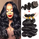Cheap SEXAY 8A Brazilian Body Wave Hair 3 Bundles with 4×4 Free Part Lace Closure,Virgin Hair Body Wavy Human Hair with Swiss Lace Closure Natural Color (16 18 20 with 14 inch)