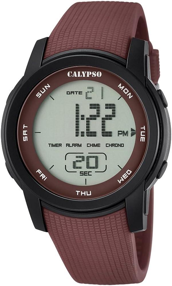Calypso de Hombre Reloj de Pulsera Sport Digital PU Reloj de Pulsera Marrón de Cuarzo Esfera marrón uk5698/5