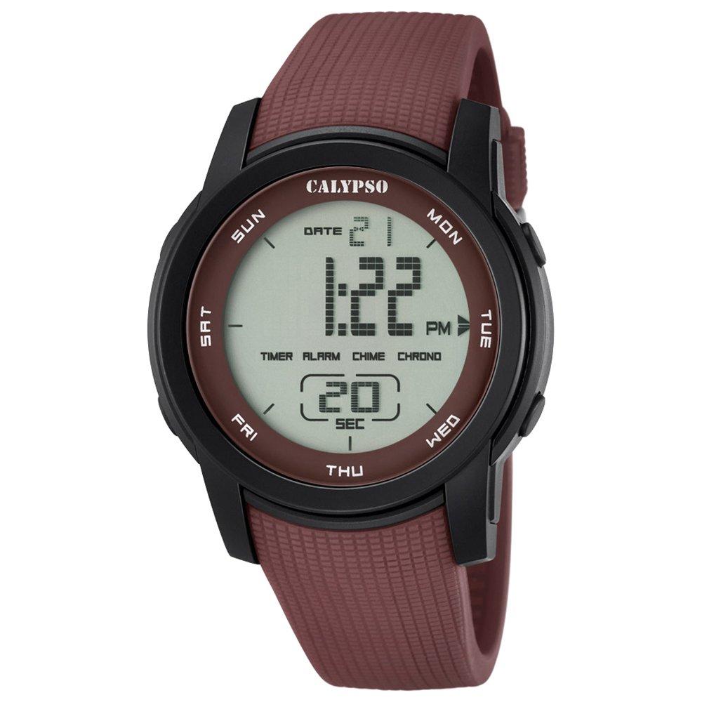 Calypso hombre-reloj deporte digital PU-pulsera marrón esfera marrón cuarzo-reloj UK5698/5