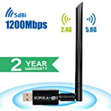 SUPOLA Wifi Adapter 1200Mbps USB Wifi Adapter Wifi Dongle USB 3.0 Dual Band 2.4GHz/5GHz 802.11ac Wifi Adapter for PC Desktop Laptop, Support Windows 10/8/8.1/7/Vista/XP, Mac OS X 10.5-10.13