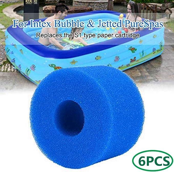 NJYBF Espuma de filtro de piscina, esponja de filtro para piscina Intex S1, esponja de filtro, espuma de filtro, cartuchos de filtro, reutilizable y lavable (6 unidades)