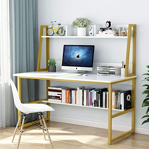 Amazon.com: Tribesigns Computer Desk with Hutch and Bookshelf, 47 Inches Home Office Desk with Space Saving Design for Small Spaces (White): Furniture & Decor