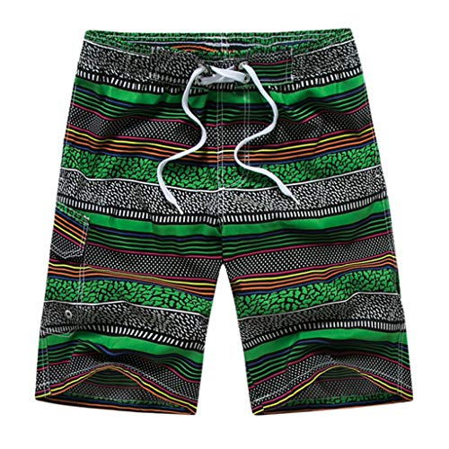 ANJUNIE Men's Casual Color Collision Patchwork Pants Beach Loose Quick Drying Shorts (Green,XL)