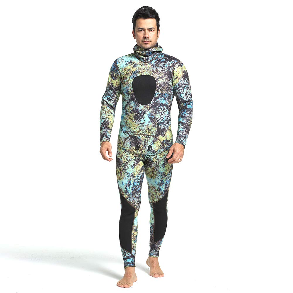 47 L ZUKN Mens Wetsuits, 3MM Fashion Pattern Neoprene Scuba Diving Suit Full Spearfishing Suit Hoodie Snorkeling Suits for Swimming Boating Fishing