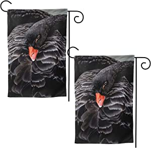 2 Pack Black Swan Double Sided Garden Flag for Outside 12.5 X 18 Inches Decorative Yard Sign Outdoor Indoor Banner