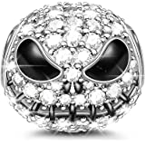 "GNOCE ""Jack Skull Charm Bead 925 Sterling Silver Beads Charms Black Plated with Cubic Zirconia for Bracelet Necklace Hallowee"