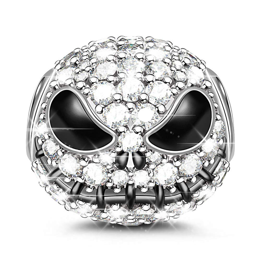 GNOCE ''Jack Skull Charm Bead 925 Sterling Silver Beads Charms Black Plated with Cubic Zirconia for Bracelet Necklace Halloween Jewelry Gift by GNOCE