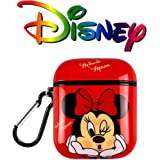 DISNEY COLLECTION AirPods Case Protectiv Cover,Fully Protected Shockproof Cartoon case with Keychain Clip Carabiner, Compatible with Apple AirPods2 and 1 (Red Minnie)