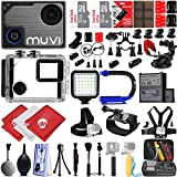 VEHO MUVI KX-1 4K Wi-Fi Sports Action Camera Action Camera w/ 64GB 28PC Bundle - Window Mount - Helmet Mount - Opteka X-GRIP Action Handle - High Power LED Video Light and MUCH MORE