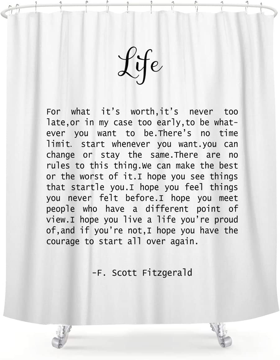 LIGHTINHOME Life Quote F. Scott Fitzgerald Shower Curtain 60Wx72L Inch Motivational Sentence Inspirational Black and White Art Waterproof Bathroom Home Decor 12 Plastic Hooks