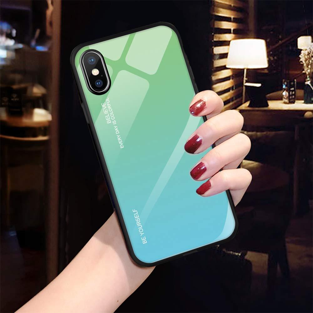 Slim Shell Case Caler H/ülle Kompatibel mit Huawei Honor 10 Lite//P Smart 2019 H/ülle 9H Geh/ärtetem Marmor Glas R/ückseite mit TPU Rahmen Schutzh/ülle Ultra D/ünn Handyh/ülle Rahmen H/üllen Sto/ßfest