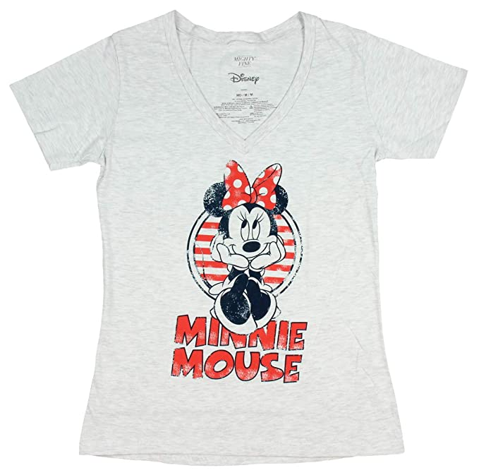 644aaa20620b Disney Minnie Mouse Shirt Junior's Distressed Graphic V-Neck T-Shirt (X-