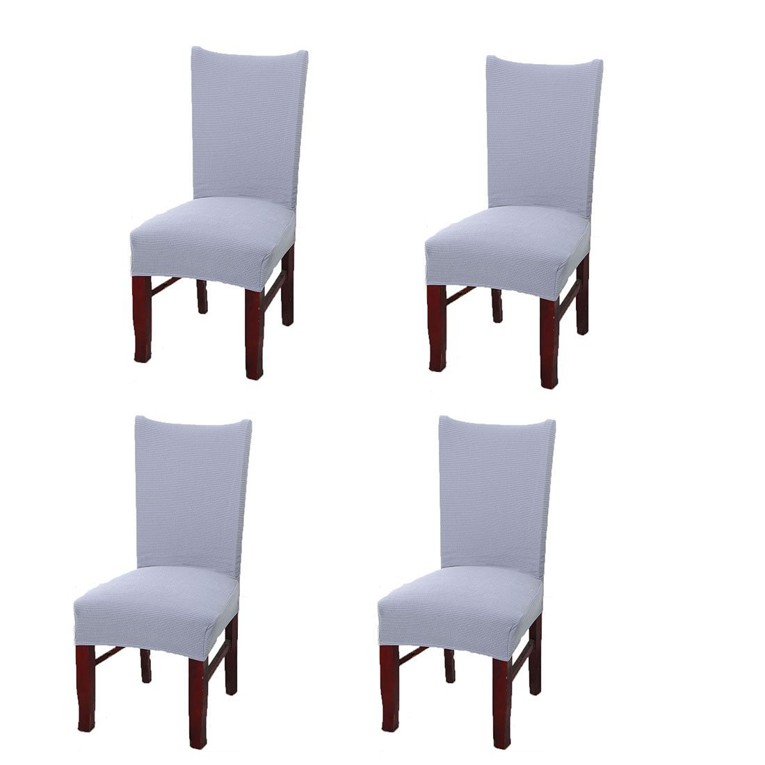 FamyFirst Dining Room Chair Covers Set of 4, Jacquard Knit Spandex Fabric Stretch Elastic Removable Washable Chair Seat Protector Slipcovers for Home Party Hotel Wedding Ceremony (Light Gray)
