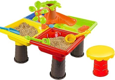 Juego de juguetes de playa con mesa de actividades y mesa de arena para regar el árbol, juego de juguetes de arena para niños y niñas: Amazon.es: Instrumentos musicales