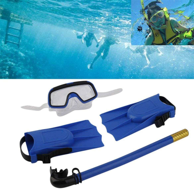Azul JohnJohnsen Snorkel m/áscara de Buceo Tubo de respiraci/ón Aletas largas pie Aletas Tubos 3 Piezas Conjunto Piscina de Entrenamiento Equipo 1Ponga