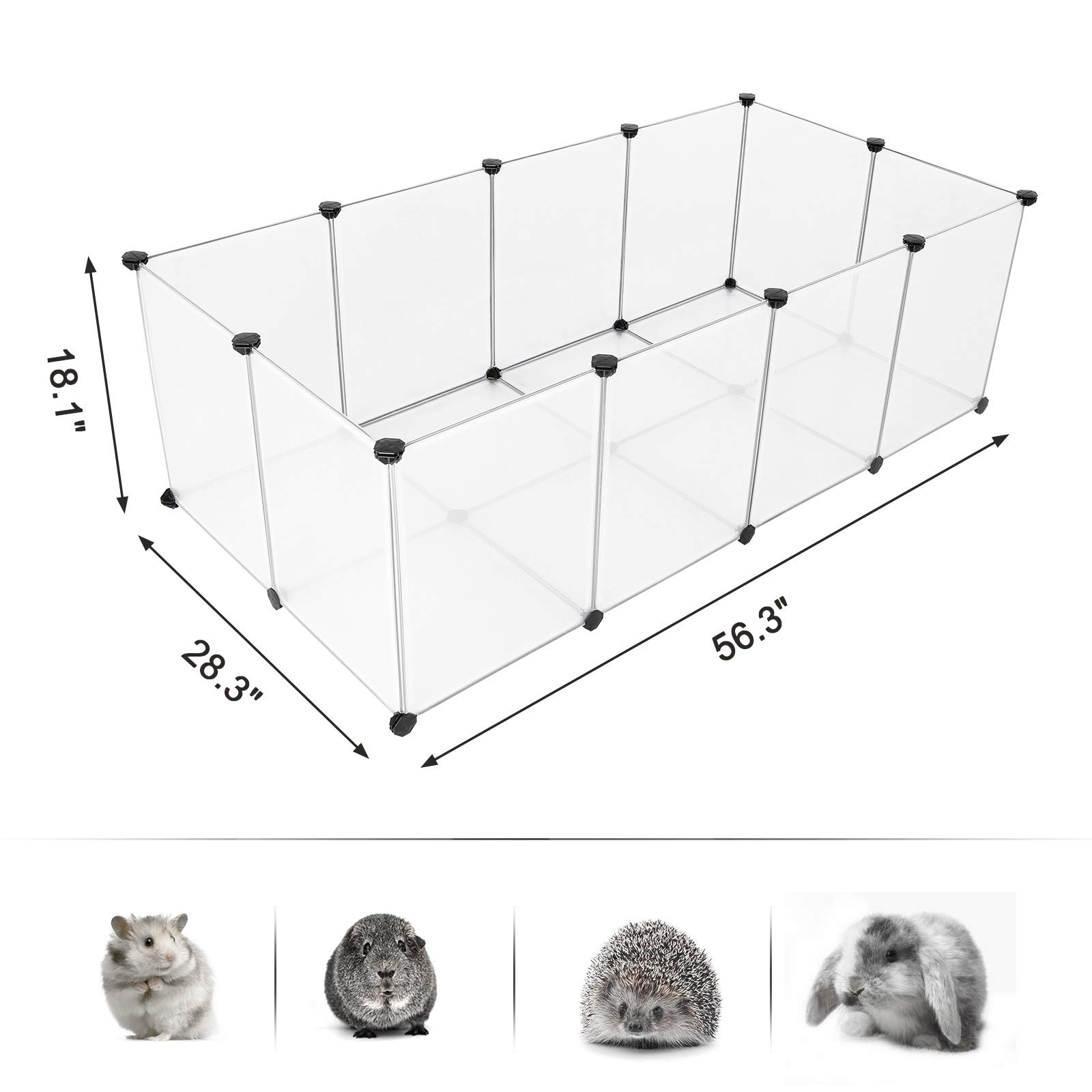 SONGMICS Pet Playpen,Fence Cage with Bottom for Small Animals Guinea Pigs, Hamsters, Bunnies,Rabbits, Pet Exercise Run and Crate, Transparent Plastic Panels, ULPC02W by SONGMICS (Image #6)