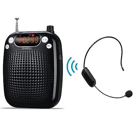 Portátil Amplificador de voz Inalámbrico con fm Estéreo microfono con Radio TF/U Disco entrada